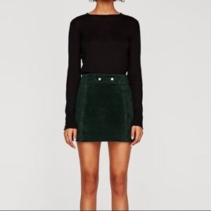 Zara Dark Green Suede Mini Skirt M